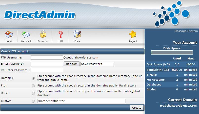 Create FTP account 1