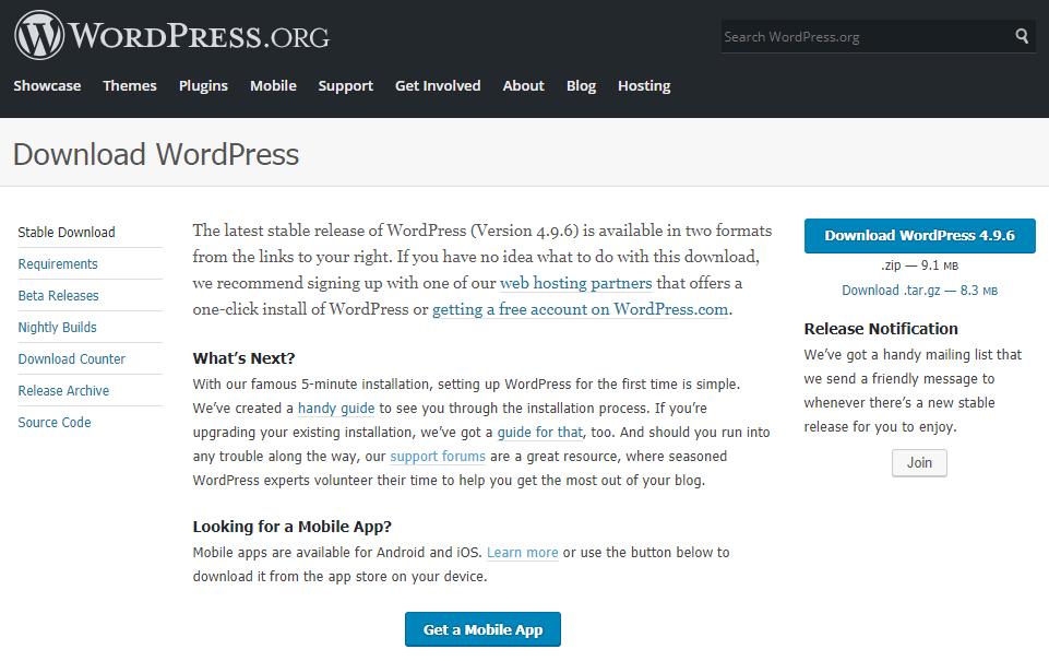 Download WordPress install