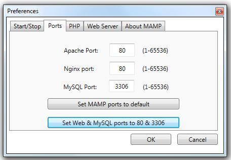 Setup Ports MAMP
