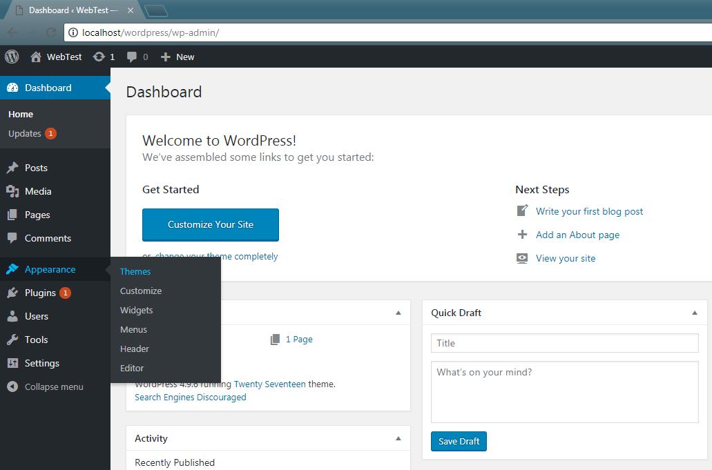 Setup Themes WordPress