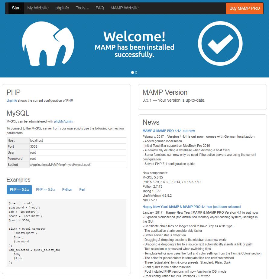 Tools MAMP PHP MySQL